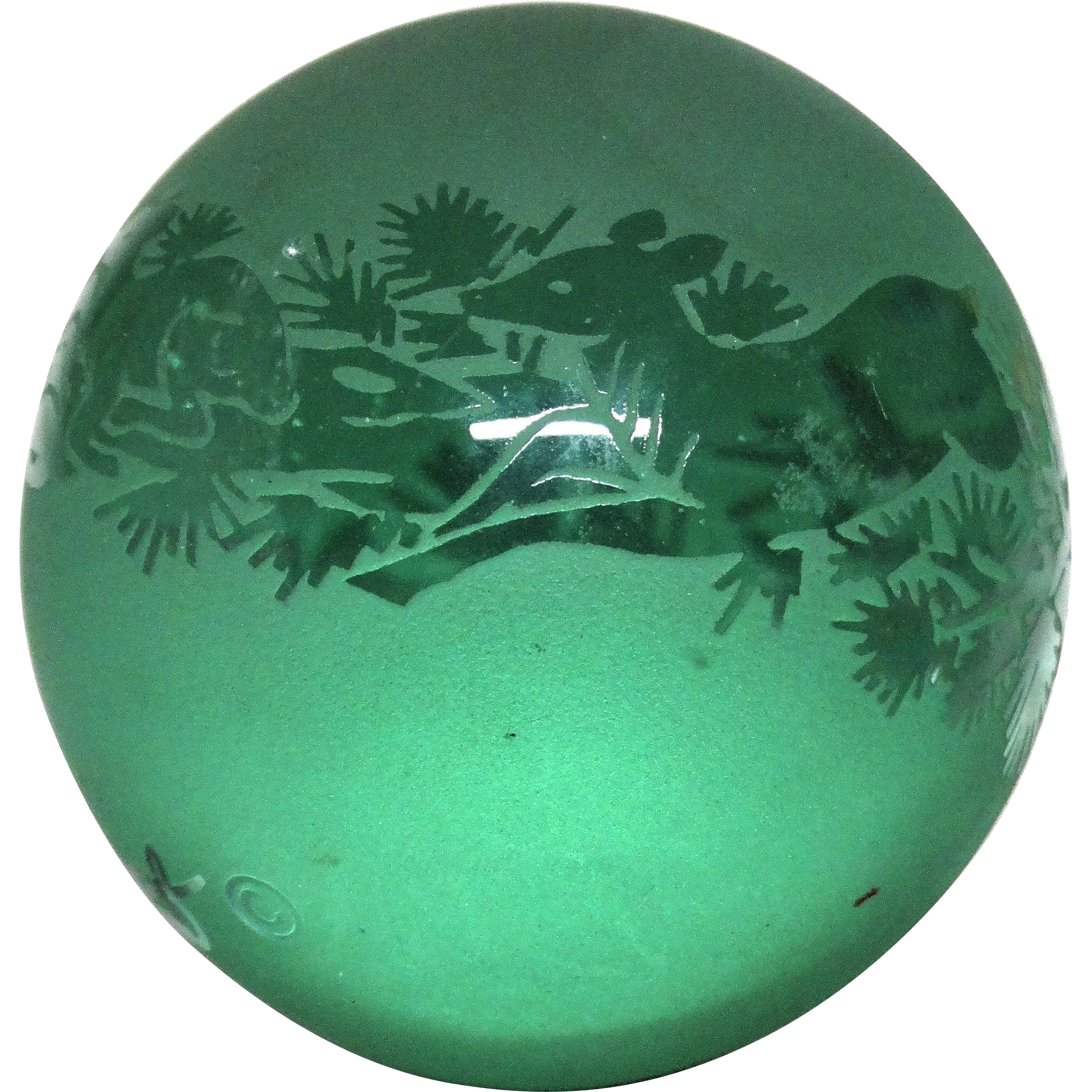 Frosted And Clear Art Glass Paperweight With A Reindeer Family, Signed