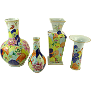 Collection of Four (4) Vintage Mottahedeh Porcelain Tobacco Leaf Vases.
