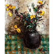 "MICHEL DE GIRARD  (French, 1922-2007) Original Signed Oil On Canvas ""Vase De Fleurs Jaunes"""