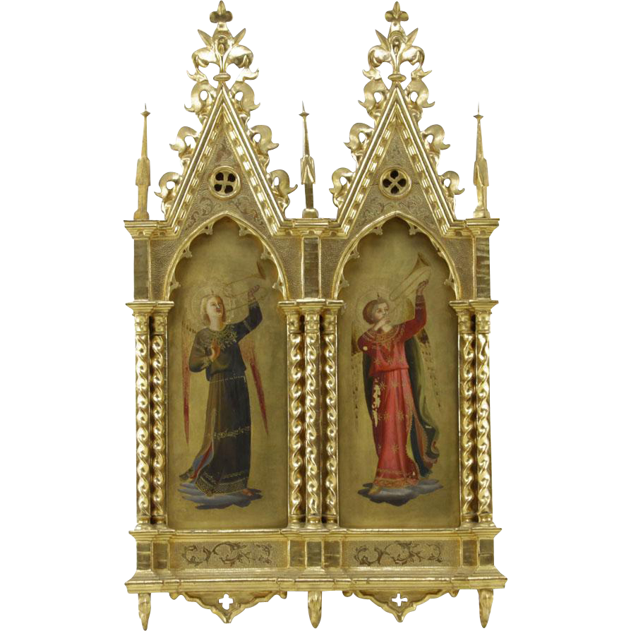 19th Century Italian School Hand Painted Religious Icons in Giltwood Gothic style Architectural Frame.  Depicts angelic musicians painted on wooden panels.