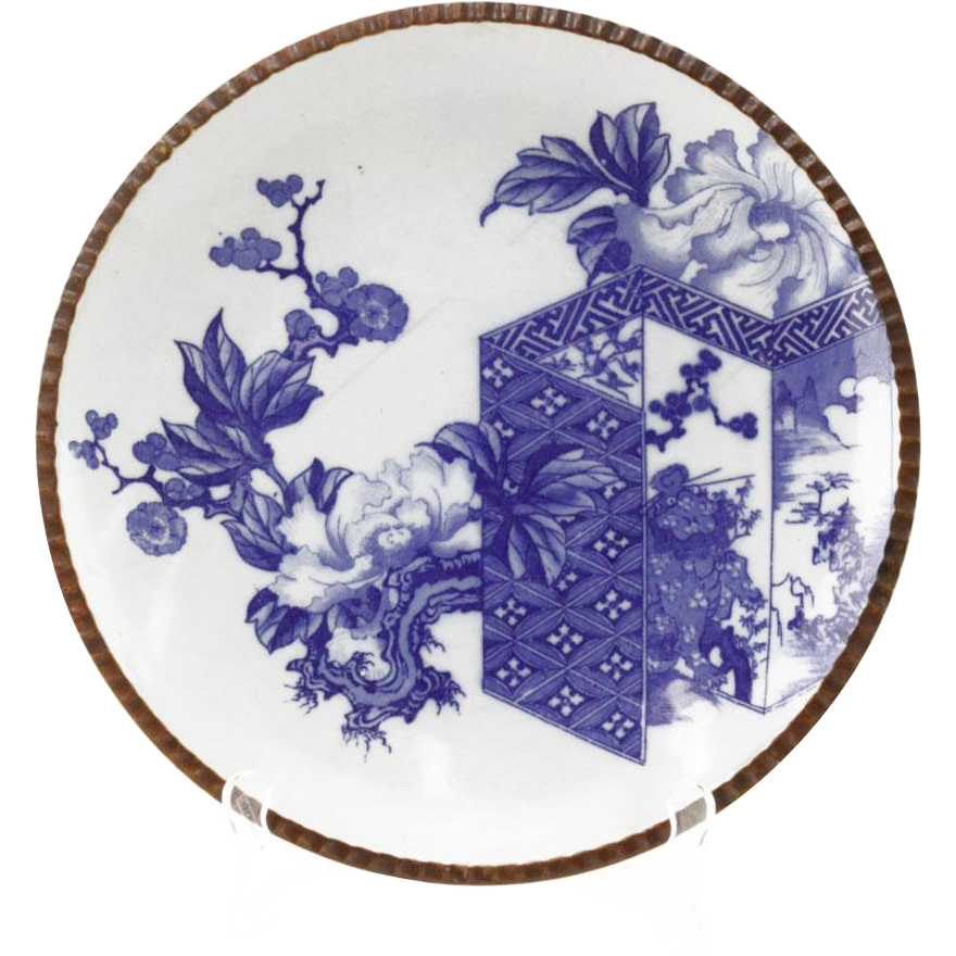 Antique Japanese Arita Porcelain Charger With Brown Trim; Blue Glaze Flower Scene With Screen Motif, Blue Glazed Flower Pattern, Late 19th Century