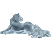 LALIQUE (France)- TWO Frosted Glass Lion Groups - Large Crystal Reclining Lioness and Two Cubs  - Original Lalique Boxes!