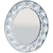 LALIQUE (France)-  Frosted and Clear Crystal Chromed Metal Bouton de Roses Table Mirror In Original Lalique Box.