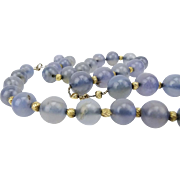 Chalcedony Quartz Bead Necklace With Sterling Silver, Beautiful!