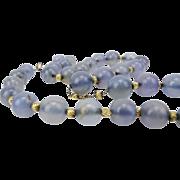 Chalcedony Quartz Bead Necklace, Beautiful!