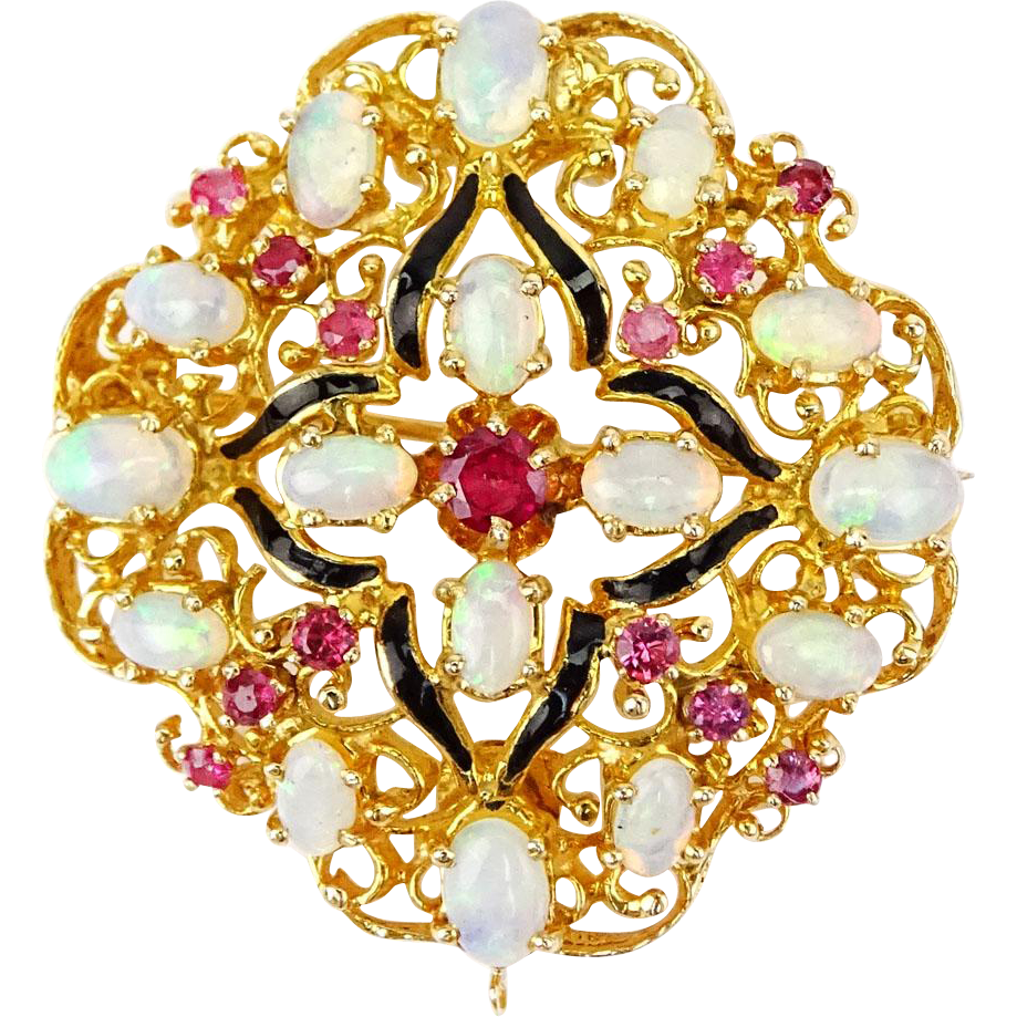 18 Karat Yellow Gold, Opal, Ruby and Enamel Pendant/Brooch. Appraisal by J. A. Kravit, GIA, Accompanies This Extraordinary Piece.