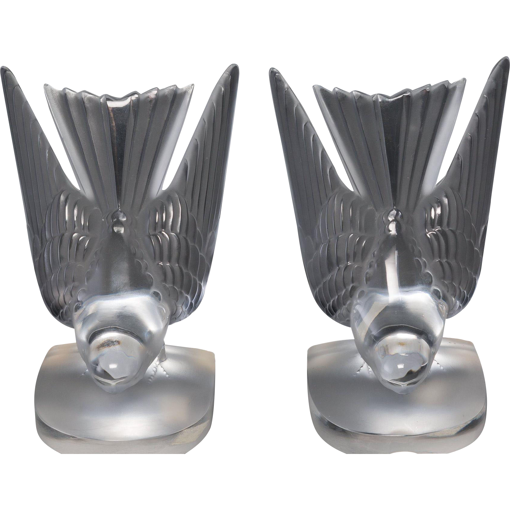 "LALIQUE Pair of  ""Hirondelle""  Swallows Bookends"