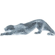 LALIQUE (France) - Large Clear and Frosted Crystal Panther, Zeila,  In Original Box - 14  1/2 inches