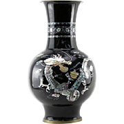 Large Vintage Oriental Black Lacquered Mother of Pear Vase - Very Impressive!