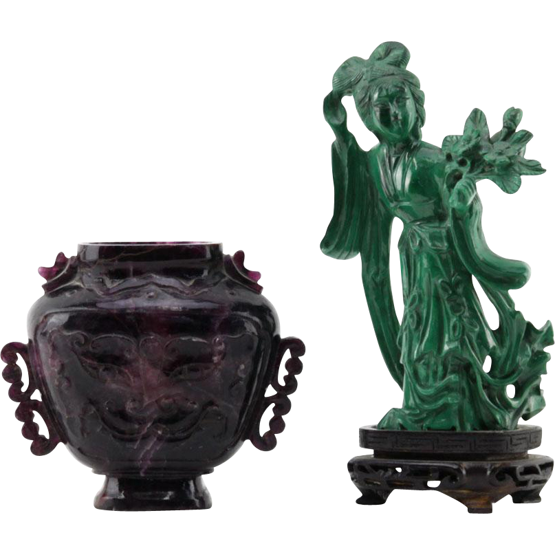 TWO Carved Stone (Amethyst and Malachite) Chinese Miniatures - Guanyin in Malachite AND Urn with Mythological Face in Amethyst