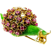 UNUSUAL Vintage Enameled 14 Karat Yellow Gold SNAIL Brooch with Ruby and Diamond Accents.
