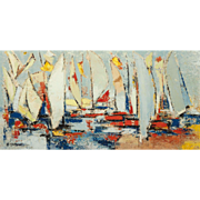 """Sailboats In The Harbor"" Original Signed Acrylic On Canvas,"