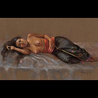 "RAKA SUASTA (Indonesian b. 1940)  ""Purple Moon"" Original Signed Pastel on Brown Paper"