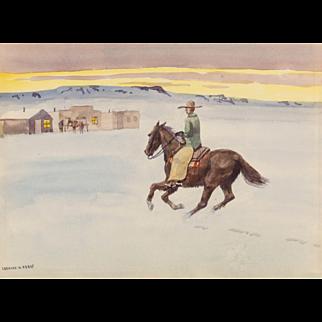 "LEONARD HOWARD REEDY (American 1899-1956) Original Signed Watercolor ""Cattle Town In Winter"""