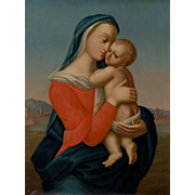 After RAPHAEL (Italian) - Original Oil On Canvas - Madonna and Child - Tempi Madonna - Large and Moving Depiction.