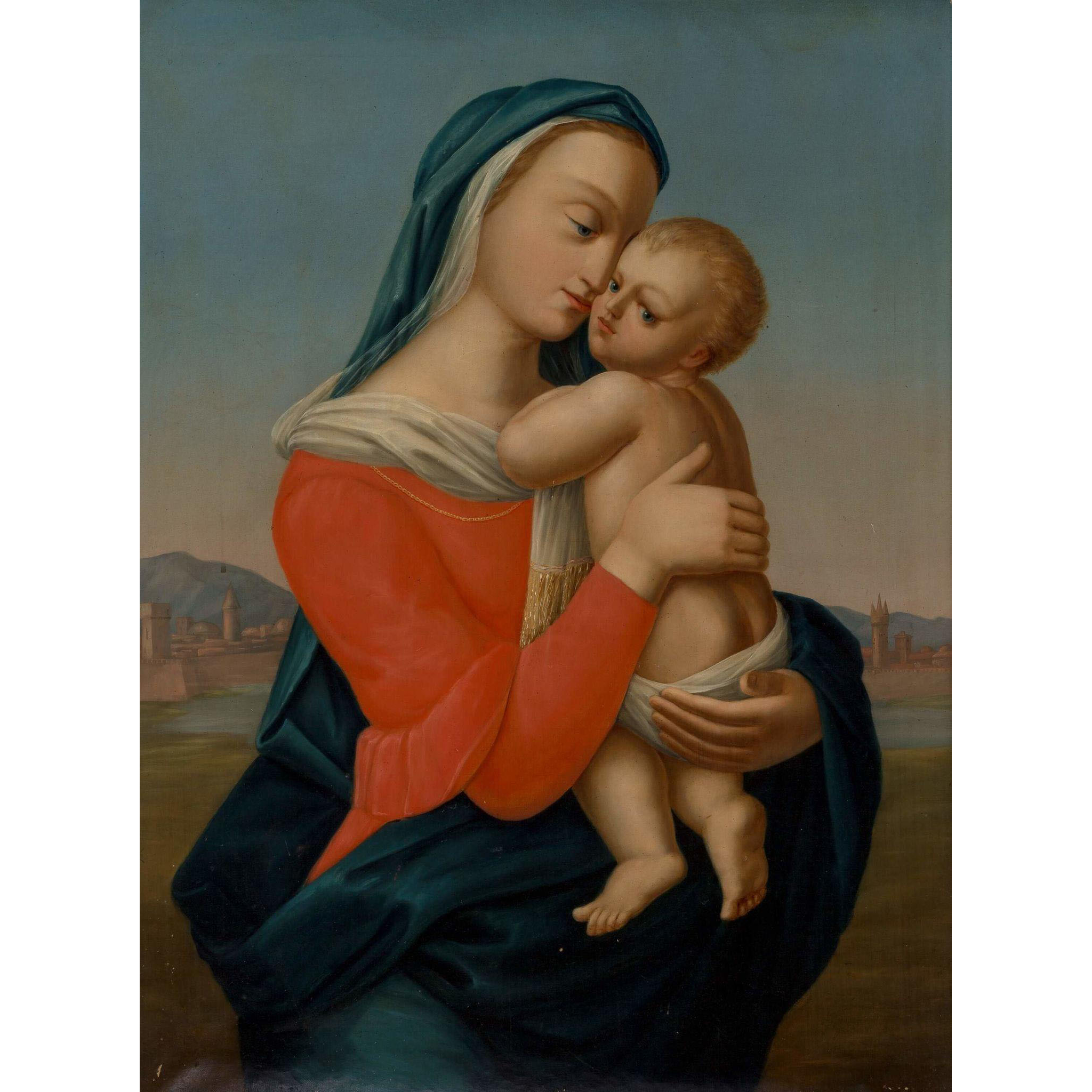 After RAPHAEL (Italian) - Original Oil On Canvas - Madonna and Child - Tempi Madonna - Very Large and Moving Depiction.