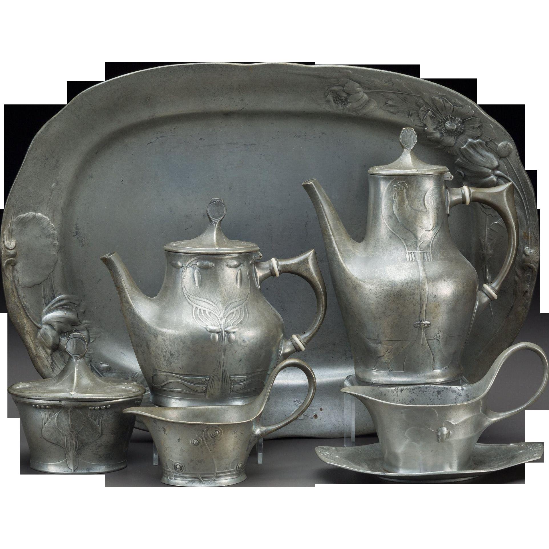 Art Nouveau Six Piece Kayserzinn Pewter Tea and Coffee Service