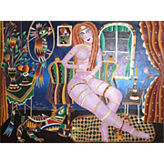 "YURI GORBACHEV (Russian/American b. 1948) Huge Signed Original Oil On Canvas ""Nude At Home With Her Pets"""