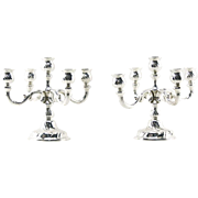 PAIR of LUTZ & WEISS German 835 Silver Rococo Style 5 Light Candelabras. Stamped and hallmarked.
