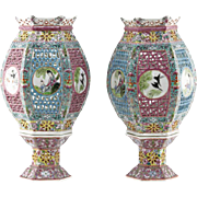 Pair Antique Chinese Famille Verte Enamel Porcelain Openwork Wedding Lanterns In Two Parts.