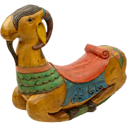 Hand-Carved Hand-Painted Billy Goat Rocker, Carved From A Single Piece Of Wood!  Circa 1900.