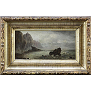 "19th Century English School Oil On Wood Panel ""Row Boat/Seascape With Rocks"""
