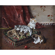 "ALFRED ARTHUR BRUNEL de NEUVILLE (French 1852-1941) Original Signed Oil On Panel ""Kittens At Play"" -"