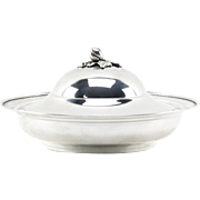 Fine Continental 900 Silver Covered Serving Dish with Finial Top