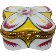 Limoges France Authentic Parry Vieille Peint Main Hand-Painted Porcelain Trinket Box, Signed