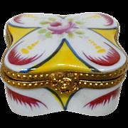 Limoges France Authentic Parry Vieille Peint Main Hand-Painted Porcelain Trinket Box, Signed
