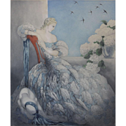 "LOUIS ICART, French (1888-1950)  ""Symphony In Blue"" SIGNED  Colored Drypoint, Etching, and Aquatint"