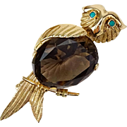 Vintage OWL Brooch With Oval Cut Smoky Quartz, Turquoise Eyes,  in 14 Karat Yellow Gold