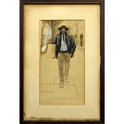 """THOMAS FOGARTY (American 1873-1938) Original Signed Watercolor and Gouache """"Man With Bundle"""""""