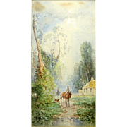 "ANDREW MELROSE (American 1836-1901) Original Signed Watercolor ""Country Road"""