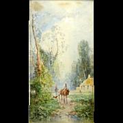 "ANDREW MELROSE (American 1836-1901) Original Signed Watercolor ""Country Road"""