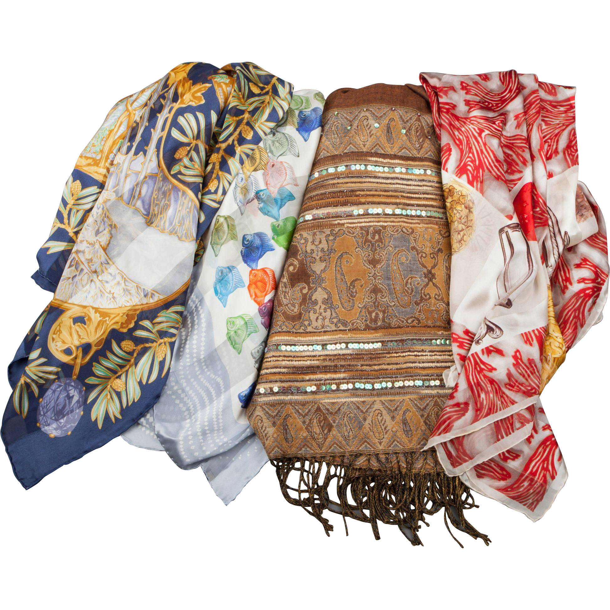 Three LALIQUE Silk Scarves and an R. LALIQUE Shawl