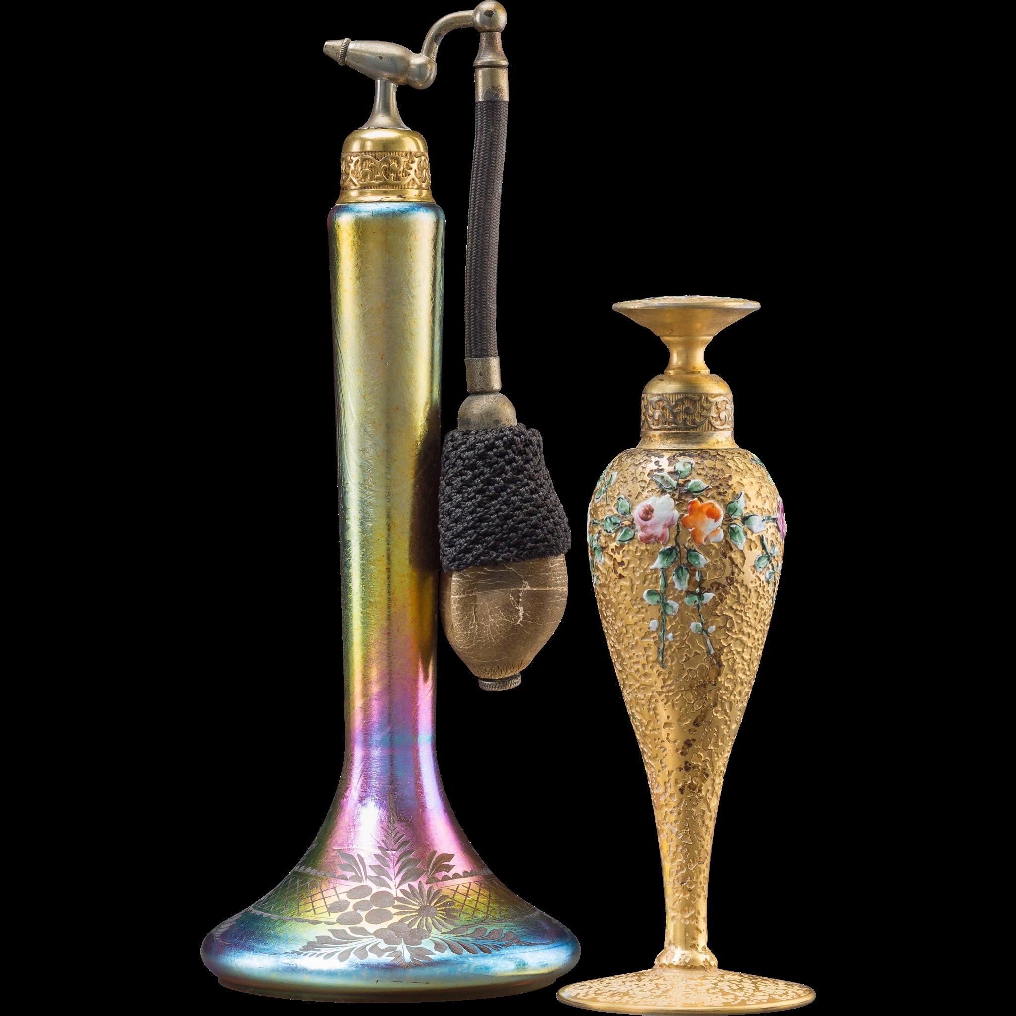 DE VILBISS -  TWO Gilt Bronze, Enamel and Iridescent Glass Perfume Bottles