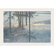 "ROBERT MC LELLAN BATEMAN (Canadian b. 1930) - Signed/Numbered Limited Edition ""Edge of Night - Timber Wolves""  Lithograph in Color - 1996"
