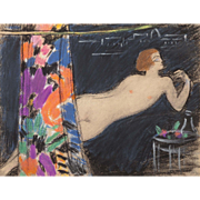 "CONTINENTAL SCHOOL (20th Century) - Original Pastel - ""Lounging Nude By Window"" Impressionist/Abstract"