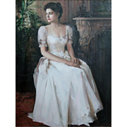 "AN HE (Chinese American b. 1957) - Original Large Oil On Canvas ""Victoria Rose"""