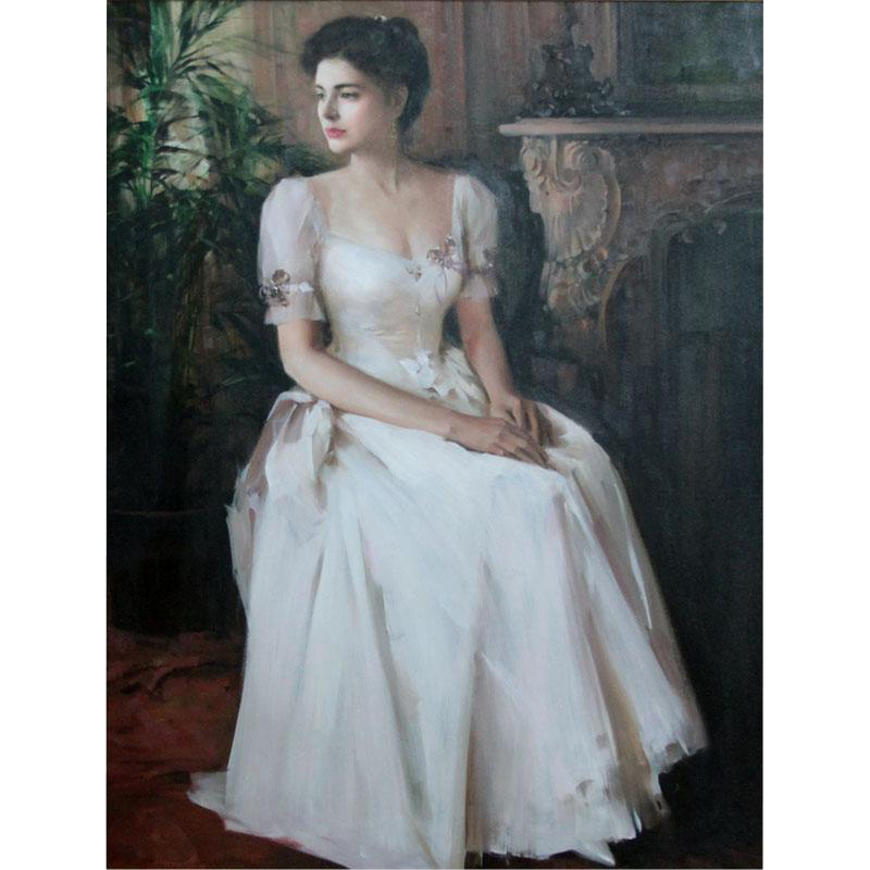 """AN HE (Chinese American b. 1957) - Original Large Oil On Canvas """"Victoria Rose"""""""