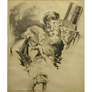"""Original Charcoal On Paper Illustration """"A Discussion"""" -Circa 1890 - 1910."""
