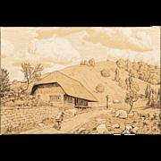 """HANS THOMA (German 1839-1924) SIGNED Lithograph """"Landschaft mit Kreuz (Schwarwaldhaus bei Happach), 1869"""
