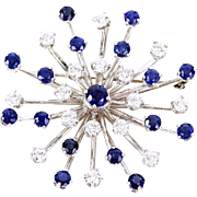STUNNING Diamond, Sapphire and Platinum Starburst Pendant/Brooch - (Approx. 1.80 Carat Round Brilliant Cut Diamond, 2.0 Carat Round Brilliant Cut Sapphire)