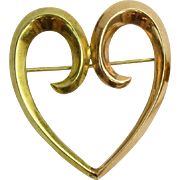 14 Karat Gold Heart Brooch/Pin, Sentimental Statement!