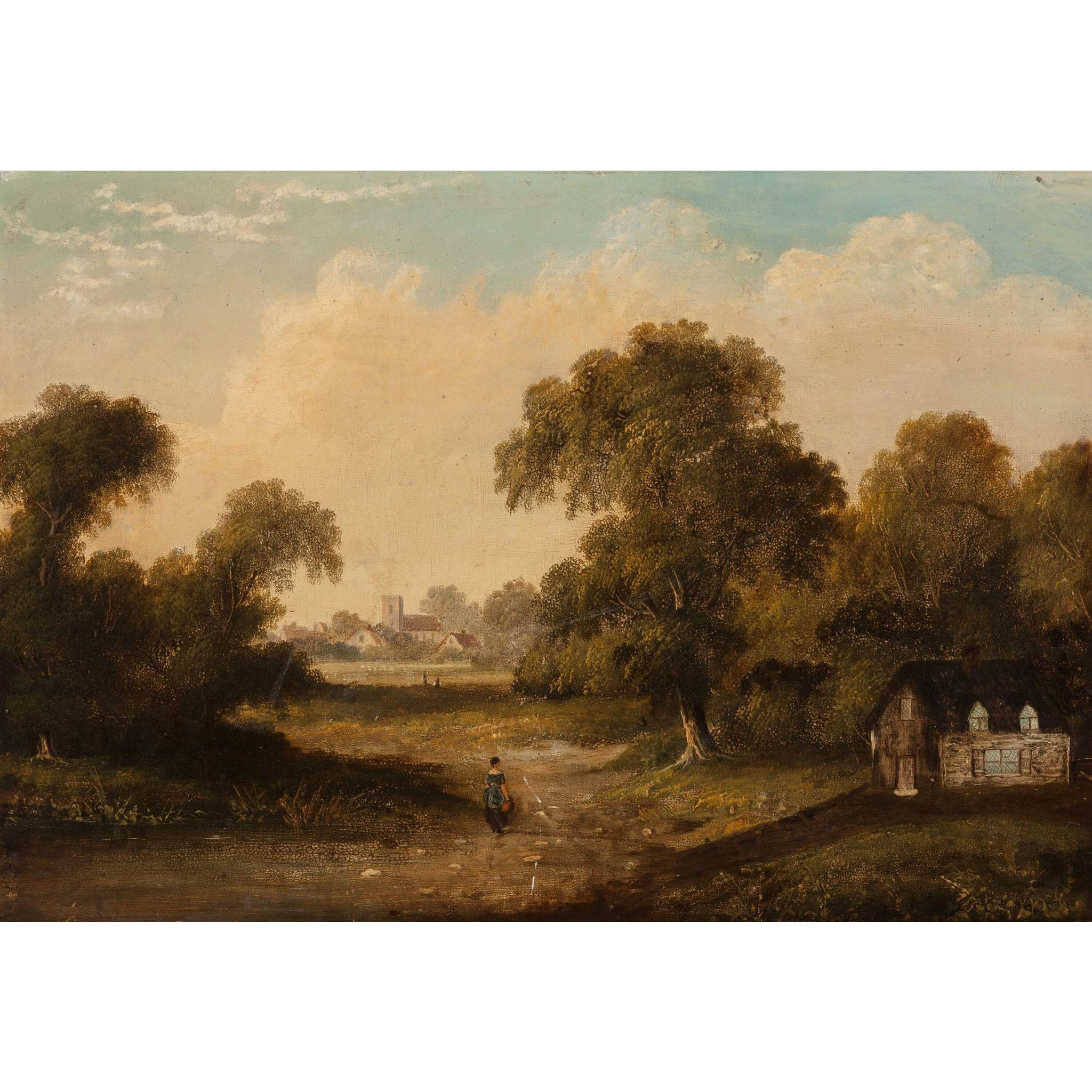 CONTINENTAL SCHOOL, 19th Century, Oil on Canvas, Extensive Landscape with a Figure on a Path and a Town in the Distance