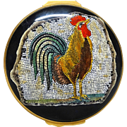 Unusual Halcyon Days Trinket Box or Dresser Box With A Depiction of A 1st Century BC Mosaic Of A Cockerel From The Burrell Collection in Glasgow,  Commissioned by Recollections, Ltd.