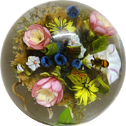 PAUL J. STANKARD (American, b. 1943) Outstanding One Of A Kind  Art Glass Paperweight With EXTRA SIGNATURE CANE, Exquisite Flowers, Two Bees And Root People
