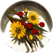 "CHRIS BUZZINI  ""Daisies and Berries Bouquet"" Art Glass Paperweight Signed, ONE OF ONE"