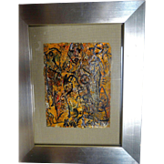 "ALEXANDER GORE (Russian/American 20th Century) ""The Hero Of Night Of Miami Beach"" Original Abstract Oil Painting Signed, With COA - Original Price $1200.00"
